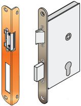 bevéső zár kerek hajlitott előlappal, zárfogadó,             kerek hajlitott előlappal
