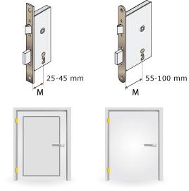25-45 mm keskeny keretes ajtóhoz, 55-100 mm teli ajtóhoz