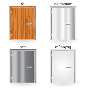 fa, alumínium, acél és műanyag ajtók