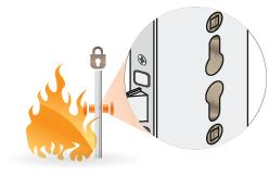a tűzgátló bevéső zár két helyen fogad zárbetétet