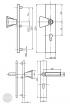 BASI SB 5000 SK2 biztonsági zárpajzs húzólappal, G-K 50-54/12/92, szögletes natúr alu méretezett rajz