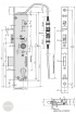 EFFEFF 809-12C elektromechanikus bevéső zár, 12V 100%ED, 92/35/24, C méretezett rajz
