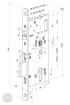 ABLOY EL 520 elektromotoros bevéső zár 72/55/20 (D,E) méretezett rajz