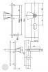 BASI SB 5000 SK2 ZA biztonsági zárpajzs húzólappal, G-K 50-54/10-18/92, szögletes natúr alu méretezett rajz