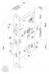 EFFEFF 709X501PZ-4 elektromechanikus bevéső zár, balos, 72/55/20 méretezett rajz