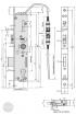 EFFEFF 809-32C elektromechanikus bevéső zár, 12V DC, 92/35/24, C méretezett rajz