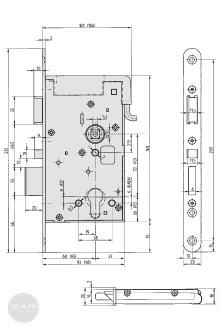 EFFEFF 809M12 elektromechanikus bevéső zár, 12V 100%ED, 72/60/20, C méretezett rajz