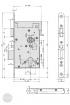 EFFEFF 809M34 elektromechanikus bevéső zár, 12V DC, 72/60/20, D méretezett rajz