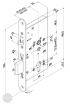 EFFEFF 309X501-4 mechanikus bevéső zár, balos, 72/55/20 méretezett rajz