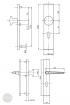 BASI SB 5000 ES0 biztonsági zárpajzs, G-K 50-54/15/92, szögletes natúr alu méretezett rajz