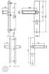 BASI SB 5000 SK2 biztonsági zárpajzs 103, K-K 38-44/12/72, szögletes nikkel ezüst alu méretezett rajz