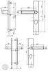 BASI SB 5000 SK2 ZA biztonsági zárpajzs, K-K 38-44/10-18/72, szögletes natúr alu méretezett rajz