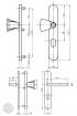 BASI SB 5000 SK2 ZA biztonsági zárpajzs, G-K 50-54/10-18/92, kerek natúr alu méretezett rajz