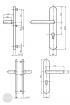 BASI SB 5000 SK1 biztonsági zárpajzs, K-K 50-54/15/92, kerek natúr alu méretezett rajz